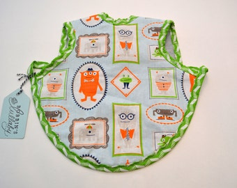 Adorable Baby Apron, Bapron, Fleece lined bib, Modern Baby, Baby Bib, Baby Shower gift, monsters,Primary colors,  Ready to Ship!