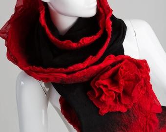 Nuno felted scarf, Nuno felting, Rose scarf, Handmade felted, Merino wool, Wool Scarf.