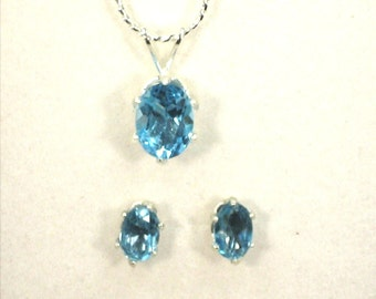 Jewelry Set Swiss Blue Topaz Jewelry Set Hand Set Womans Topaz Gemstone Necklace Set Necklace & Earrings Womans Blue Topaz Pendant Gift Set