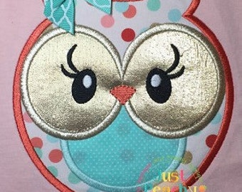 Sweet Owl Girl Machine Embroidery Applique Design