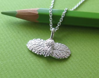 Apple Mint Leaf Pendant Necklace - Pure Silver Real Leaf Pendant, Herb Jewelry