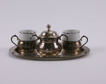Pretty Italian espresso cup set with sugar bowl on tray