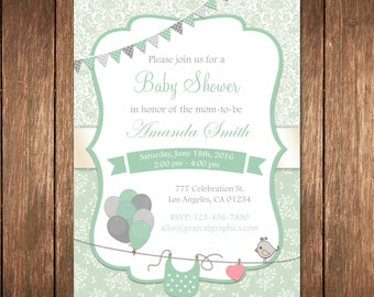 Mint Baby Shower Invitation, Gender Neutral Baby Shower, Mint And Gray Baby Shower, Baby Boy Shower, Navy And Mint Baby Shower