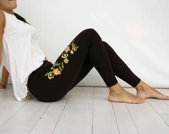Brown Embroided Leggings / Brown Colorful Flower Embroided Leggings Pants Clothing Gift Outdoors Gift