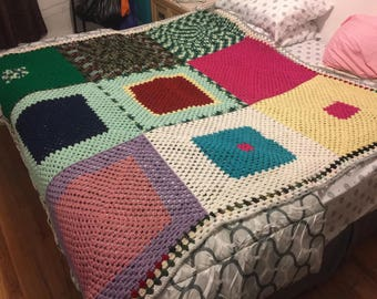Multi Color Crochet Blanket, Chunky Crochet Throw Blanket, Bedding, Winter Blanket, Gift, Full Size Blanket.
