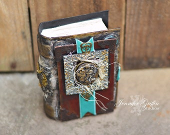 Fairy Potion Book- Spell Book- Apothecary Bottles- Potion Bottles- White Magic- Magic Spells- Mixed Media Art- Art Box- Altered Book Art