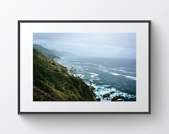 View of the Pacific Ocean from cliffs in Big Sur, California   Photo Print, Metal, Canvas, Framed.