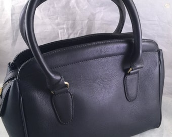 Vintage Ladies' Black or Very Dark Navy Leather Hunt Club Purse/Handbag with Double Handles
