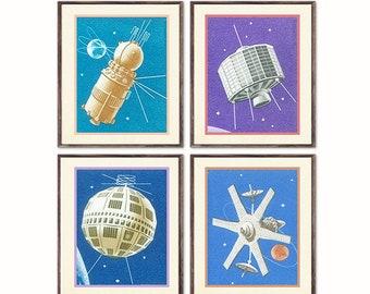 Astronomy Print Set, Set of 4, Astronomy Gift, Astronomy Art, Astrology Set, Astrology Art, Astrology, Astrology Print, Moon Print, Moon Art