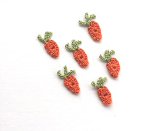 6 Crochet Carrot Applique | Crochet Carrot Decoration | Crochet Fake Carrot Play Food