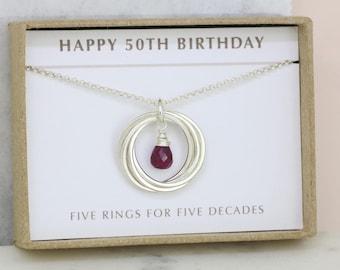 50th birthday gift, July birthstone necklace 50th, ruby necklace for 50th birthday, gift for mom, wife - Lilia