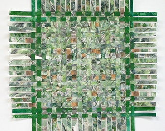Green Paper Weaving- 18x18- Handwoven Art- Original Watercolor Painting- Woven Paper Art- Rustic Cabin Decor