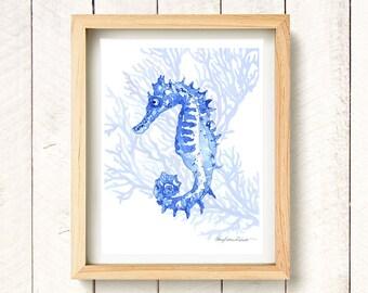 "Indigo Ocean Seahorse - watercolor art print 8.5x11"""