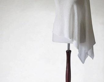 Linen poncho, wedding poncho, knit poncho, knit shawl, white scarf, white poncho, women's poncho,knit cape,knit scarf,bridal cape,white cape