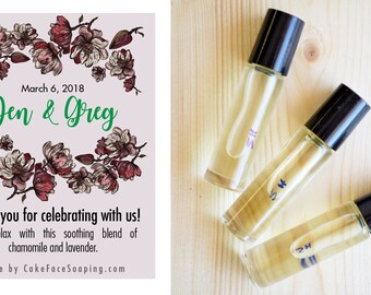 Customized aromatherapy set rollerball party favors gifts for bridesmaids bridal shower gift set