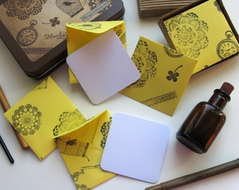 Yellow Envelopes Skeleton Stamps Mini Stationery Set, Blank Note Cards, Thank You, Square, Small, Cute Gifts Tags Lace Keys Clocks, Under 15