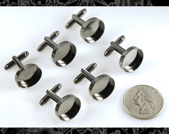 Six Gunmetal Cuff Link Blanks with Round 16mm Settings, 3 Pairs * Cuff2