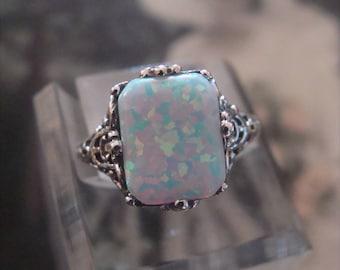 Sweet Sterling Silver  Filigree Opal  Ring Size 6
