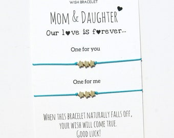 Matching Mother  Daughter Bracelets Wish bracelet for 2 Mom  and Daughter Mother's day gift from daughter  Gift for Mom gift under 20