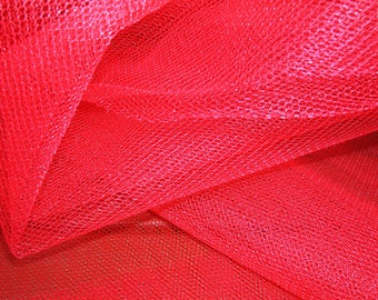 Tulle semi-rigid red by 10 cm