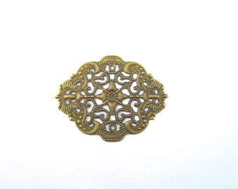 Beautiful antique brass filigree stampings 34x44mm, pick your amount, B33