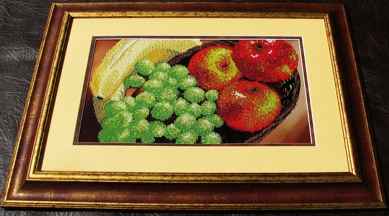 Fruits bead embroidery kit, embroidered beaded painting set, DIY ...