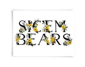 SICEM BEARS POSTCARD Green Yellow Flowers Postcards Baylor University Floral Stationary Set Bearly Southern Co