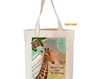Giraffe Tote Bag, Reusable Shopper Bag, Farmers Market Bag, Cotton Tote, Shopping Bag, Eco Tote Bag, Reusable Grocery Bag, Printed in USA