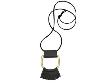 Leather Wrapped Rounded Fringe D-Ring Necklace, Brass and Leather Necklace, Long Fringe Necklace
