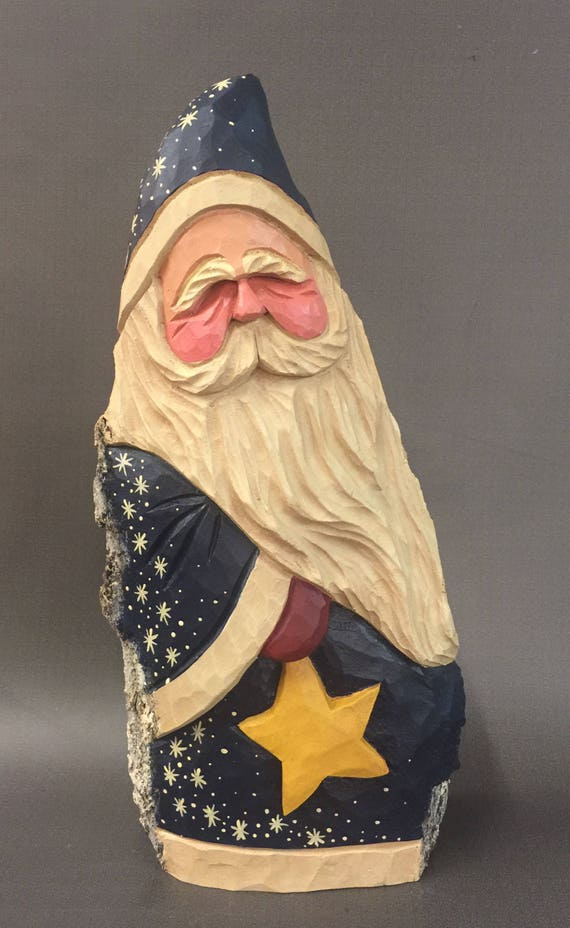 HAND CARVED original large Santa holding a star from 100 year old Cottonwood Bark.