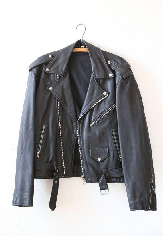 motorcycle Jacket Vtg Black MOTO Men's LEATHER Biker 80s vRqwv7Y
