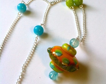 Abstract glass beaded necklace