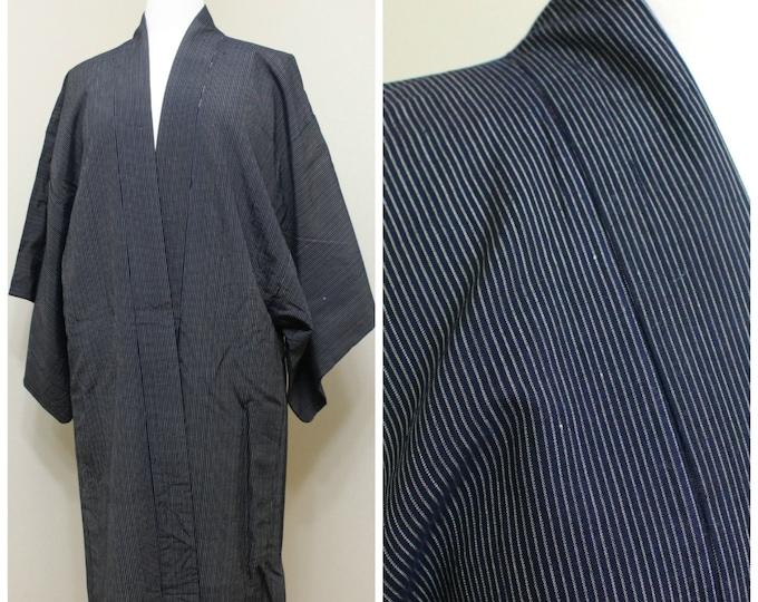 Men's Happi Jacket. Vintage Japanese Silk Ikat Folk Wear. Indigo Blue Traditional Coat (Ref: 1353)