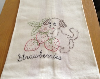 Hand Embroidered Flour Sack Tea Towel - Puppy and Strawberries on red stripe