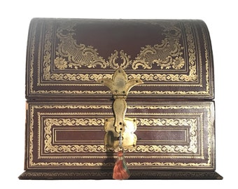 Antique Leather Letter Box A. Casciani-Roma Italy FREE SHIPPING!