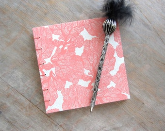6x6 Guest Book, Peaches and Cream Coral, unlined torn pages, Ready to Ship