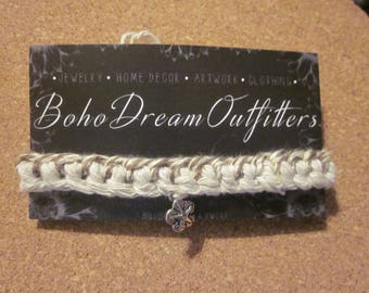 Woven Bracelet with Sand Dollar Charm