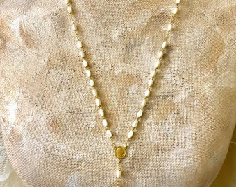 New~Rosary with Crucifix and Mother of Pearl Beads