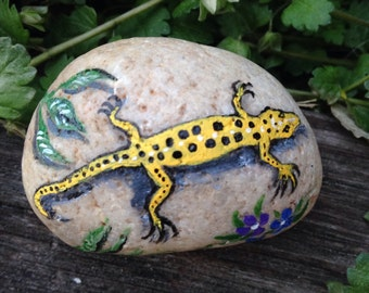 Painted ROCK Whimsical LIZARD PAPERWEIGHT