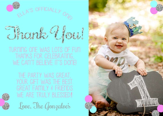 First Birthday Thank You Card Pink Gold Glitter Thank You
