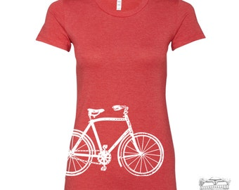 Womens Vintage  BIKE T Shirt -hand screen printed s m l xl xxl (+ Colors) custom