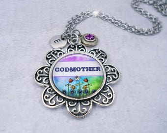 Godmother Necklace with Swarovski Birthstone Crystal & Letter Charm, Godmother Gift, Godmother Birthday, Choose your Charms, Crafted w-lOve!