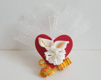 Kit magnetic brooch heart bouquet on a nest of tulle with Lavender for your event