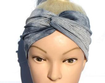 Striped Turban Headband knot Comfortable Headwrap Stripe Twist Headband Blue Gray Turban Jersey Stretch Head wrap basic casual sport