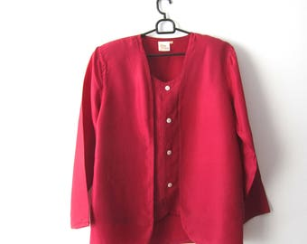Vintage Womens Silk Shirt Red Long Sleeve Button Up  Shoulder Pads Blouse Medium Size Red Silk Blouse Comfortable Women's Shirt