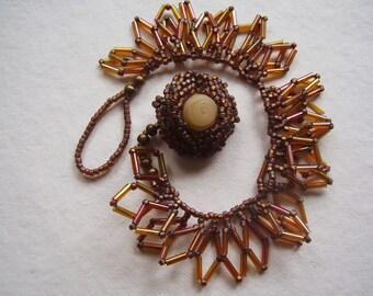 Soft Amber Woven Bracelet Leaf Fringe Bracelet Metal Free Jewelry Rose Bracelet Nature Lover Bracelet Autumn Colors Bugle Bead Bracelet