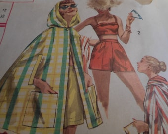 Vintage 1950's Simplicity 2074 Bra, Shorts and Hooded Cape Sewing Pattern SIze 12 Bust 32