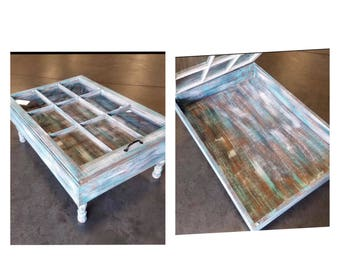 ON SALE Beach House Coffee Table   Rustic Coffee Table   Glass Top Coffee  Table   Storage Coffee Table   Military Display Table   Unique Cof