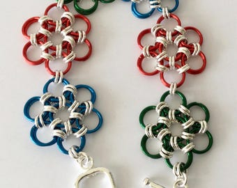 Japanese Chainmaille bracelet in Blue, Red and Green