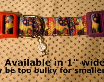"""Willy Wonka Charlie and the Chocolate Factory themed 1"""" wide adjustable dog collar with candy charm LEASHES and key fobs AVAILABLE"""